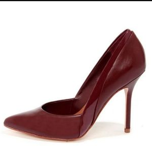 Steve Madden Clydee Heel maroon pointy toe leather